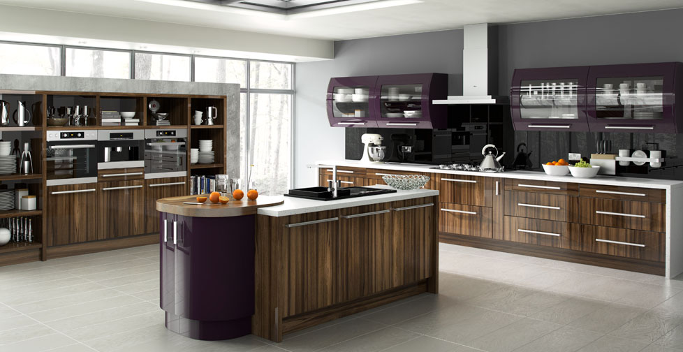Duleek Gloss Tiepolo & Gloss Burgundy Kitchen