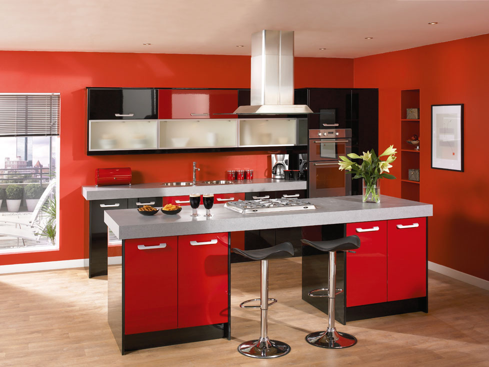 Duleek High Gloss Red Kitchen