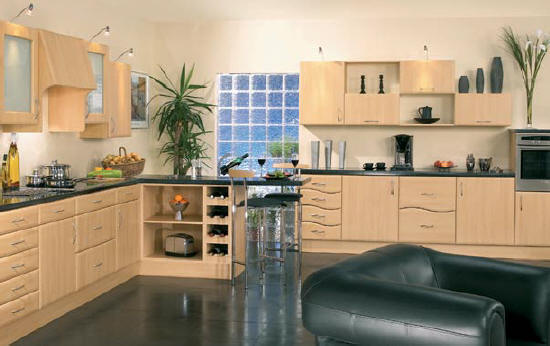 Lincoln Slab Beech Kitchen bevelled edge